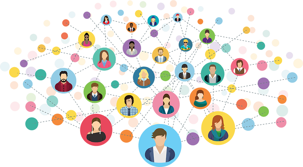 Numerous circles with vector images of clients all connected randomly with each other
